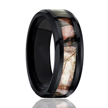 Black Tungsten Ring - Camo Ring - Forest Camo - Mens Wedding Band - Comfort Fit - Tungsten Carbide Wedding Ring -  8mm Beveled Edge