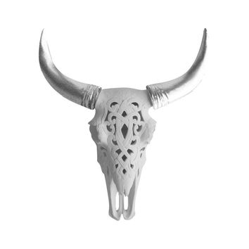 The Ledoux   Large Carved Cow Skull   Faux Taxidermy   White + Silver Horns Resin
