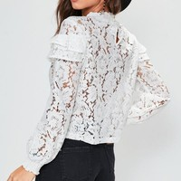 Missguided - White High Neck Lace Frill Blouse