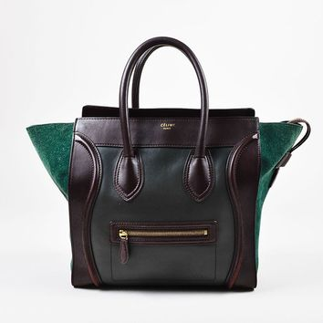 """Green and Brown Celine Suede Leather Tricolor """"Mini Luggage Tote"""" Bag"""