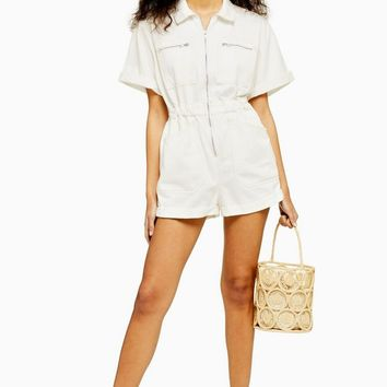 Zip Detail Ecru Denim Romper | Topshop