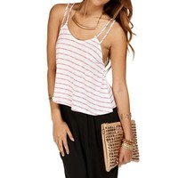 Red/White Stripe Double Strap Crop Top
