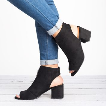 Edgy Zip Up Booties - Black