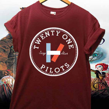 Twenty One Pilots Stay Alive Available shirt for men and woman Maroon Unisex Adults Made in by USA