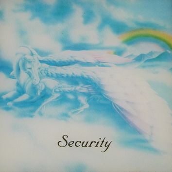 Kitschy 80s Glass Collectible Carnival Prize in Cardboard Frame Mom and Baby Pegasus in the Clouds with Rainbow Security