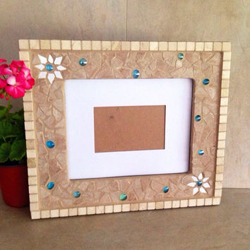 Mosaic picture frame, handmade frame, photo frame, large wall photo frame, mosaic art, housewarming gift, wedding gift frame,