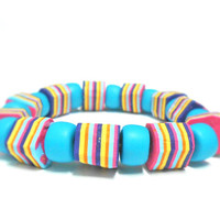 Turquoise, Purple, Yellow and Pink Bohemian Bracelet - Colorful Striped Boho Bracelet - Colorful Jewelry - Handmade of Polymer Clay - Selsal