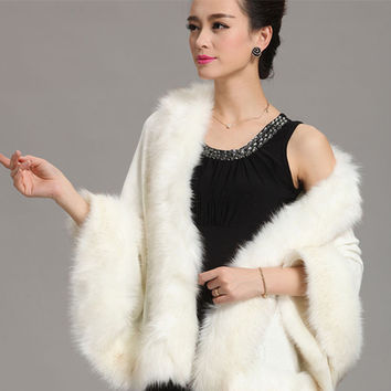2015 Winter  Women Sweater Cardigan  Female Fox Fur Collar Poncho Cape Bridal Wedding  Wool  Shawl Cape 12 Colours