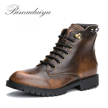 Metallic Color Single/Winter Plush Rivet Leather Men Snow Boots Vintage Casual Motorcycle Martin Boots