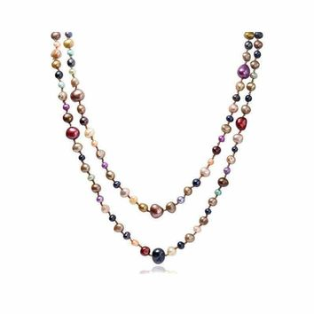5-8mm Multicolor Natural Baroque Freshwater Pearl Necklace (Length: 160cm (Available Colors: Brown, Grey))