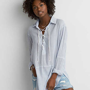 AEO Lace-up Tunic Shirt , White