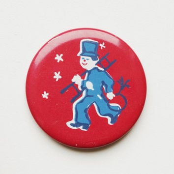 Vintage 4 cm (1.57'') chimney sweep sweeper fairytale story christmas snow pin brooch badge token clasp pinion tin aluminum cordon band