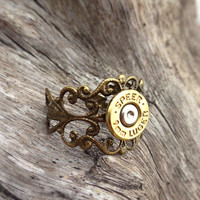 Bullet ring from Caliber Girl Bullet Jewelry