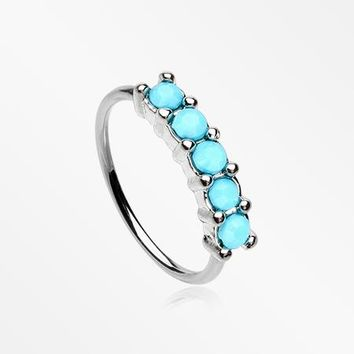 Turquoise Multi Beads Princess Prong Bendable Hoop Ring
