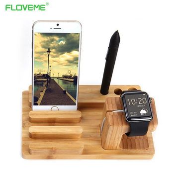 Multi-Function Natural Bamboo Wood Charge Station Charging Dock Cradle Stand Holders For iPhone 6 6S Plus 5 5S For iPhone 7 Plus