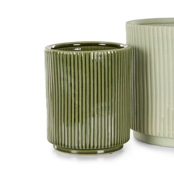 Palm Set of 2 Plant Pots, Mint and Green | made.com