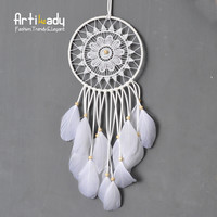 Artilady authentic native American dream catcher tapestry europe white wall hanging dream catcher for room car decorate jewelry