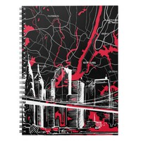 Skyline and New York Map Spiral Notebook