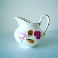 Vintage China Creamer,  Individual China Creamer, Small Creamer with Roses and Gold Trim, Vintage Delphine Creamer, SALE