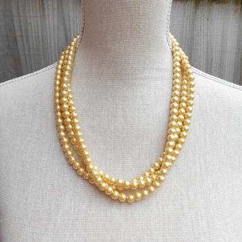 Gold triple strand glass pearl necklace ~ Cheap jewelry gift under 20, 30 ~ great for teacher, mother day, wife, aunt, grandma