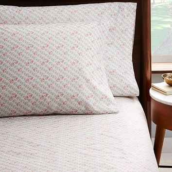 Organic Mini Striped Diamond Sheet Set - Rose Bisque