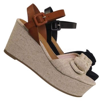 Twins03 Platform Wedge Linen Sandal - Women Bow Ankle Strap Summer Shoe