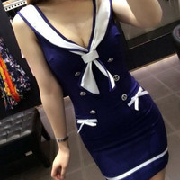 Blue Sailor Bodycon Mini Dress
