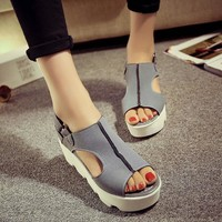 Summer Design Wedge Shoes Waterproof Thick Crust Stylish With Heel Peep Toe Sandals [9432941642]