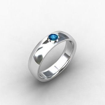 London blue topaz ring, white gold ring, Men wedding band, men London blue, Topaz wedding, Blue wedding, bezel, blue, ring, Band