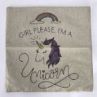 Girl Please I'm A Unicorn Throw Pillow Cover