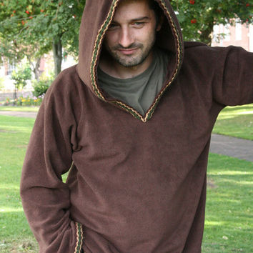 Hoodie for Men  SCA clothing Brown hoodie Elven hood by tatoke