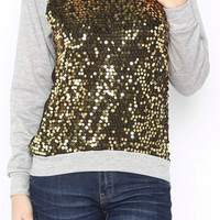 Festive Sequined Top - Gold