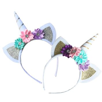 Unicorn Flower Baby Girl Headband Hairband for Women Bandeau Cheveux Femme Diademas Para Mujer