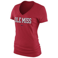 Ole Miss Rebels Nike Women's Arch Cotton V-Neck T-Shirt - Cardinal