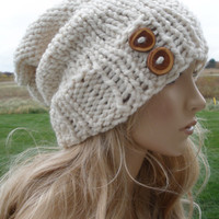 Cream Beige Gold Sparkle Hand Knit Oversized Slouchy Woodsy Wool Blend Beanie Hat With Wood Buttons