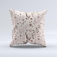 Tan Music Note Pattern ink-Fuzed Decorative Throw Pillow