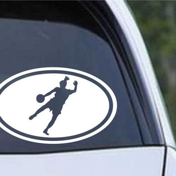 Soccer Girl Kicking Euro Oval Die Cut Vinyl Decal Sticker