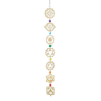 Brass Chakra Wall Hanging | Mobile, Quartz Crystal