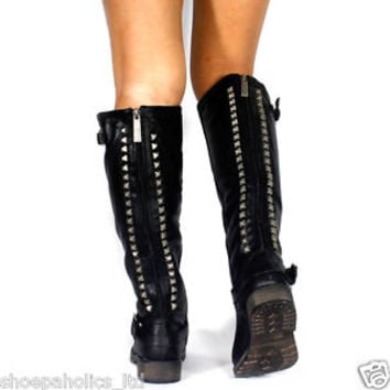 Studded Buckle Riding Knee High Boots BLACK Size 6 to 8