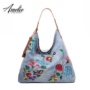 AMELIE GALANTI new fashion women shoulder bags denim casual totes cotton fabric embroidery floral soft casual shopping bag 2017