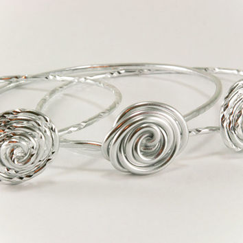 Stacking Bracelets Set of 3 Silver Roses Aluminum Wire