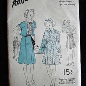 Vintage Sewing Pattern Advance #1510 Girls Dress With Bolero