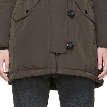 Moncler Olive Green Fur-trimmed Arrious Fitted Parka