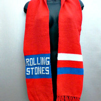 1970's Vintage Rolling Stones Scarf - Concert Tour Collectible - Band Memorabilia - Red White & Blue