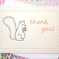 Hand Embroidered Thank You Card Squirrel by sleepingfoxstitchery
