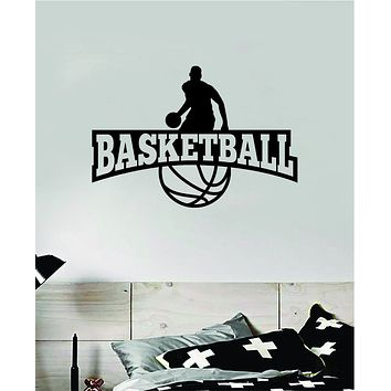 Basketball Logo Wall Decal Quote Vinyl Sticker Decor Bedroom Room Teen Kids Nursery Sports Hoops Ball Team Playroom