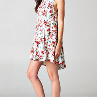 PLEATED FLORAL TANK DRESS