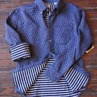 N&F Quilted Doubleface Slim Shirt: Navy | Old Hollywood