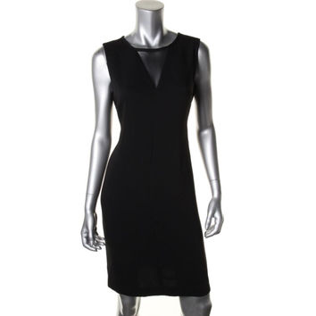 Calvin Klein Womens Mesh Inset Sleeveless Cocktail Dress