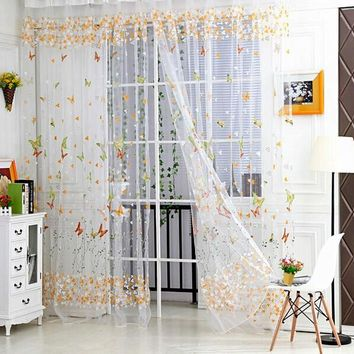 Tulle Willow Door Balcony Butterfly Print Curtain Panel Sheer Scarfs Window Screens Scarf Curtain